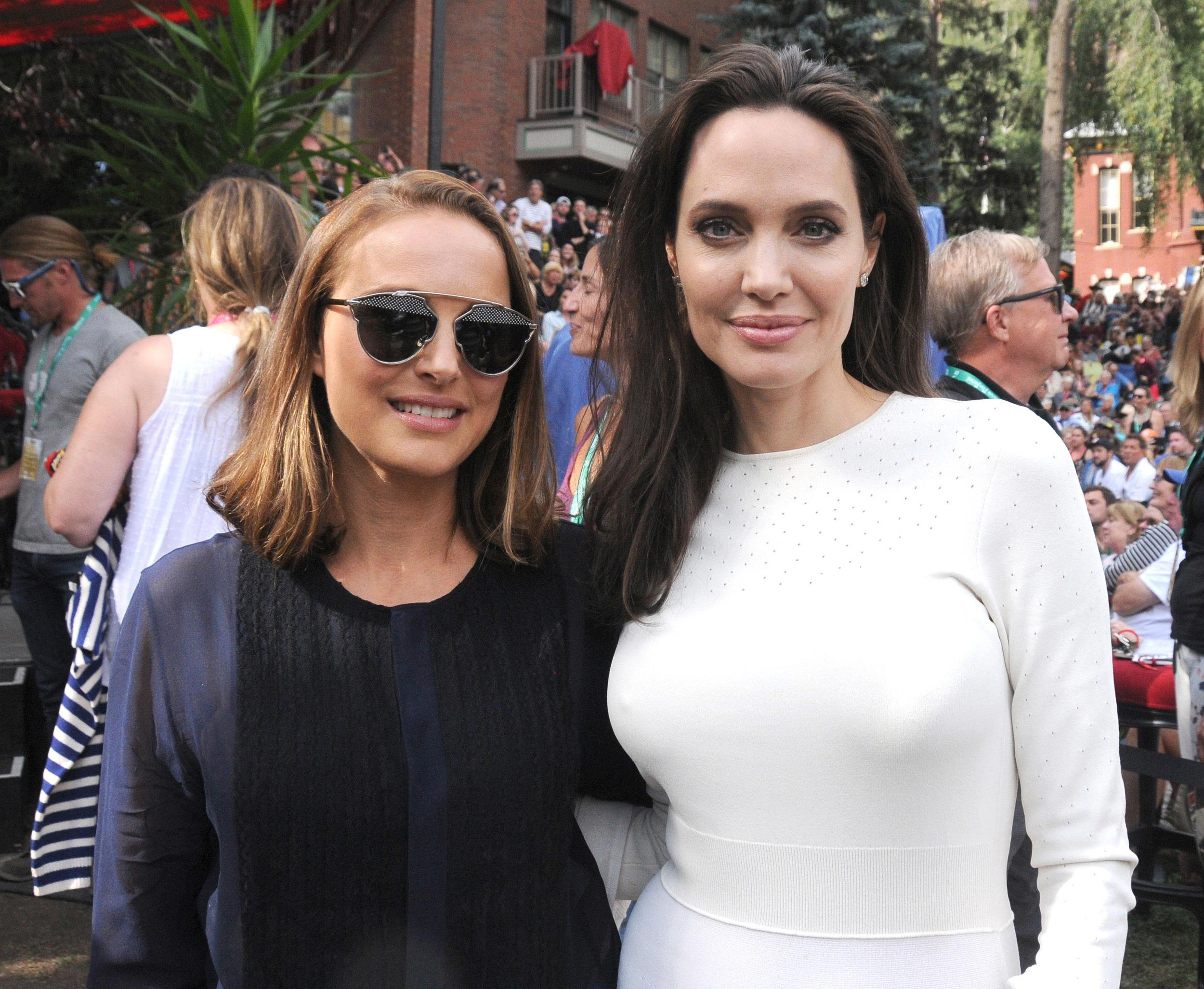 TELLURIDE, CO - SEPTEMBER 02:  Natalie Portman and Angelina Jolie attend the Telluride Film Festival 2017 on September 2, 2017 in Telluride, Colorado.  (Photo by Paul Best/Getty Images)