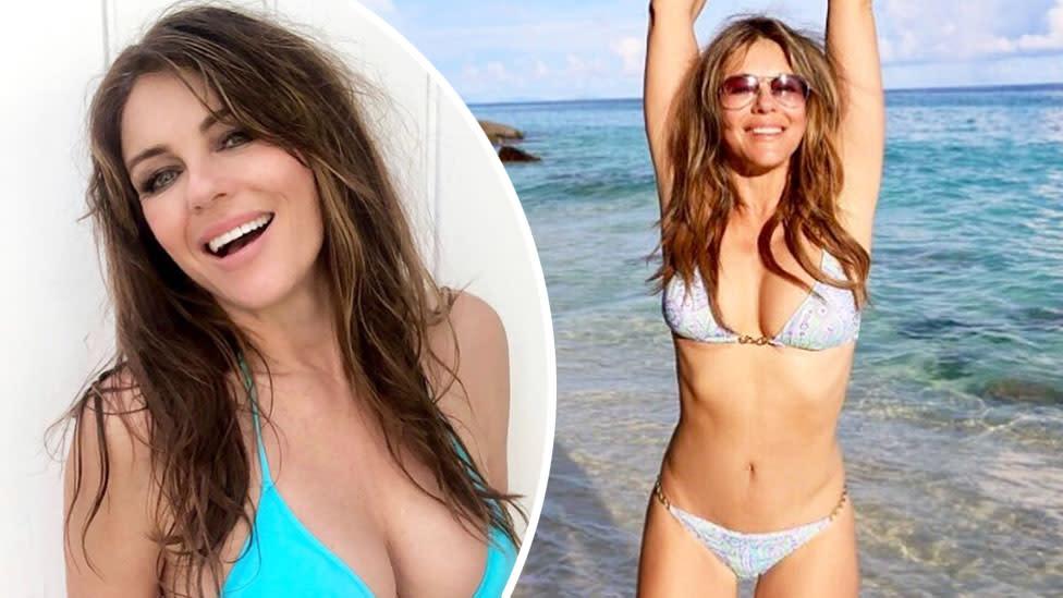'Ageless beauty': Liz Hurley sizzles in blue bikini one week after ex's death