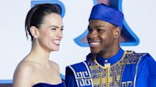 John Boyega wears traditional dress for 'Star Wars' premiere, Daisy Ridley a vision in royal blue