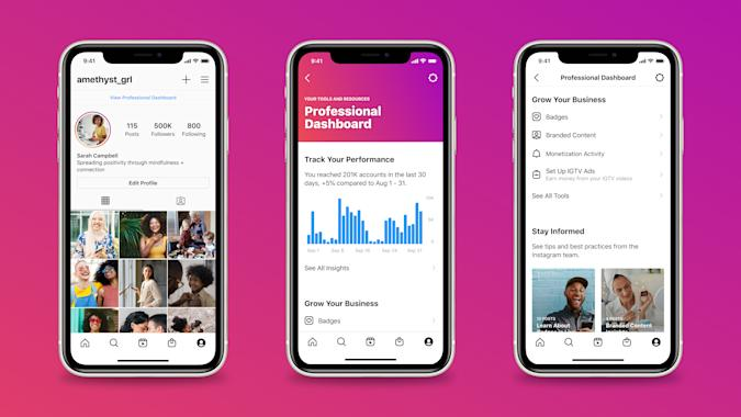 Instagram's new professional dashboard for business owners and creators.