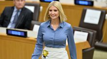 Ivanka Trump returns to work following Misha Nonoo's wedding in embellished Prada skirt