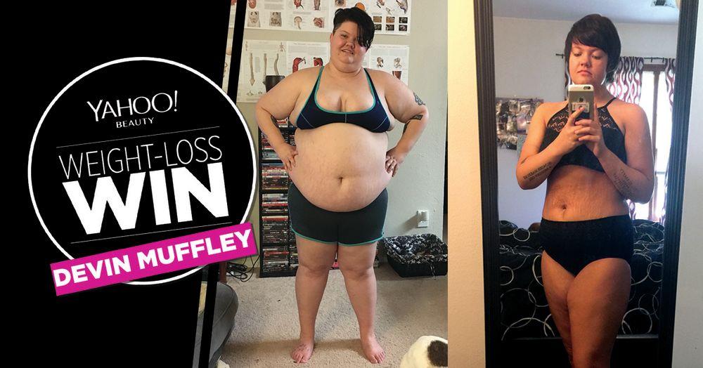 Devon Muffley lost 166 pounds. (Art: Quinn Lemmers for Yahoo Beauty. Photos: Courtesy of Devon Muffley)