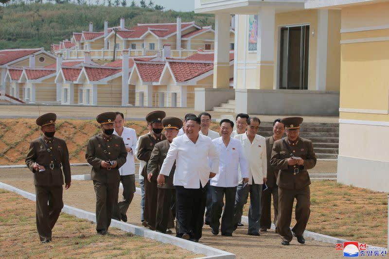 North Korea's Kim praises army for rebuilding typhoon-hit area - KCNA
