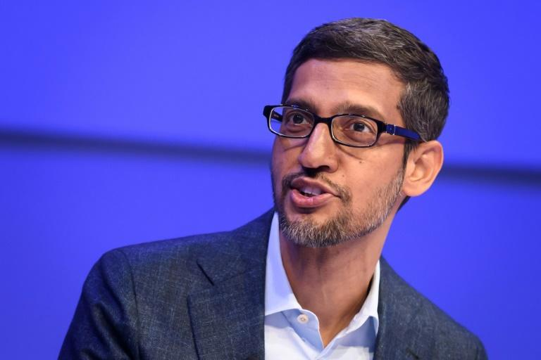 Alphabet and Google CEO Sundar Pichai has highlighted cooperation with Apple in efforts to tackle the coronavirus pandemic (AFP Photo/Fabrice COFFRINI)