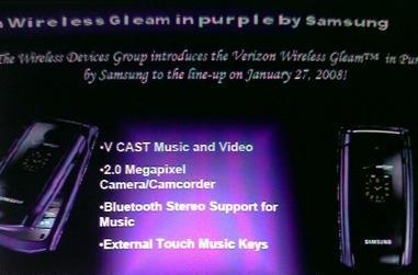 Verizon giving Samsung Gleam a dash of purple