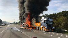 Trailer driver dies in fiery crash