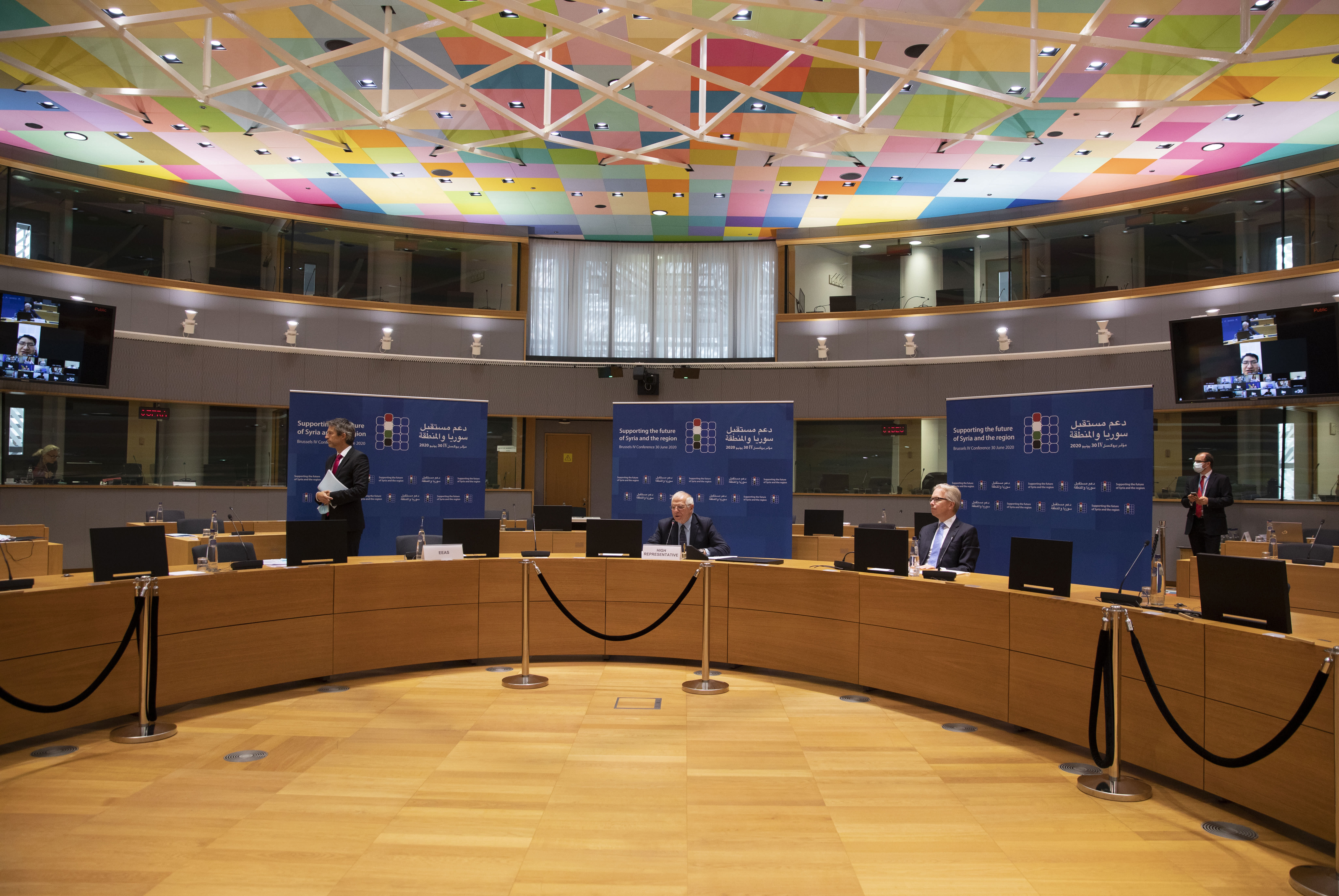 European Union foreign policy chief Josep Borrell addresses a meeting, Supporting the future of Syria and the Region, in videoconference format at the European Council building in Brussels, Tuesday, June 30, 2020. (AP Photo/Virginia Mayo, Pool)