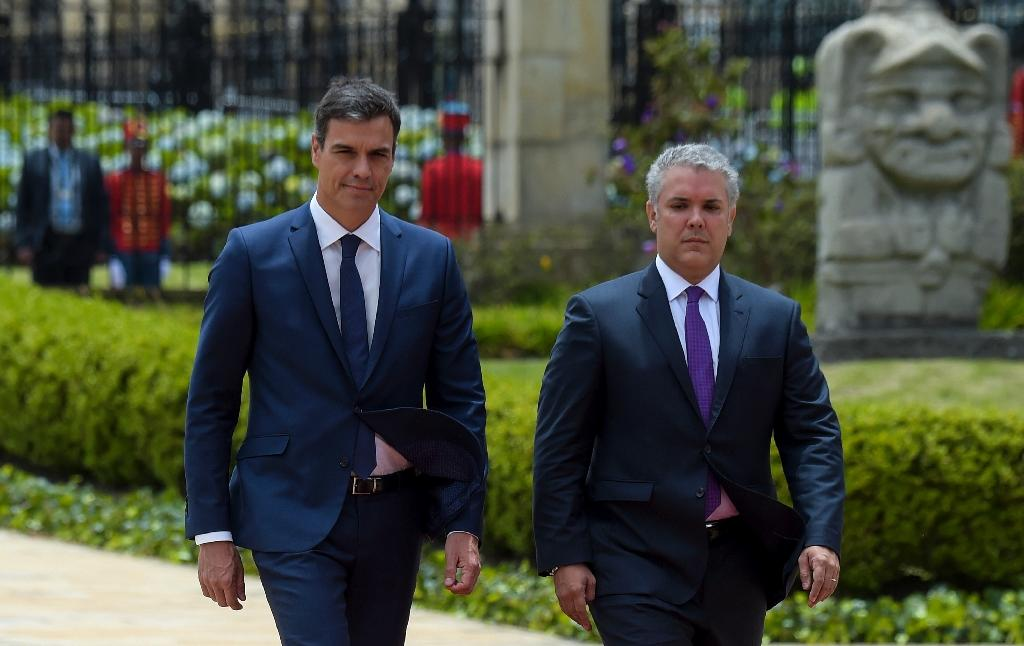 Colombia's right-wing President Ivan Duque (right) hosted Spain Prime Minister Pedro Sanchez for two days of meetings