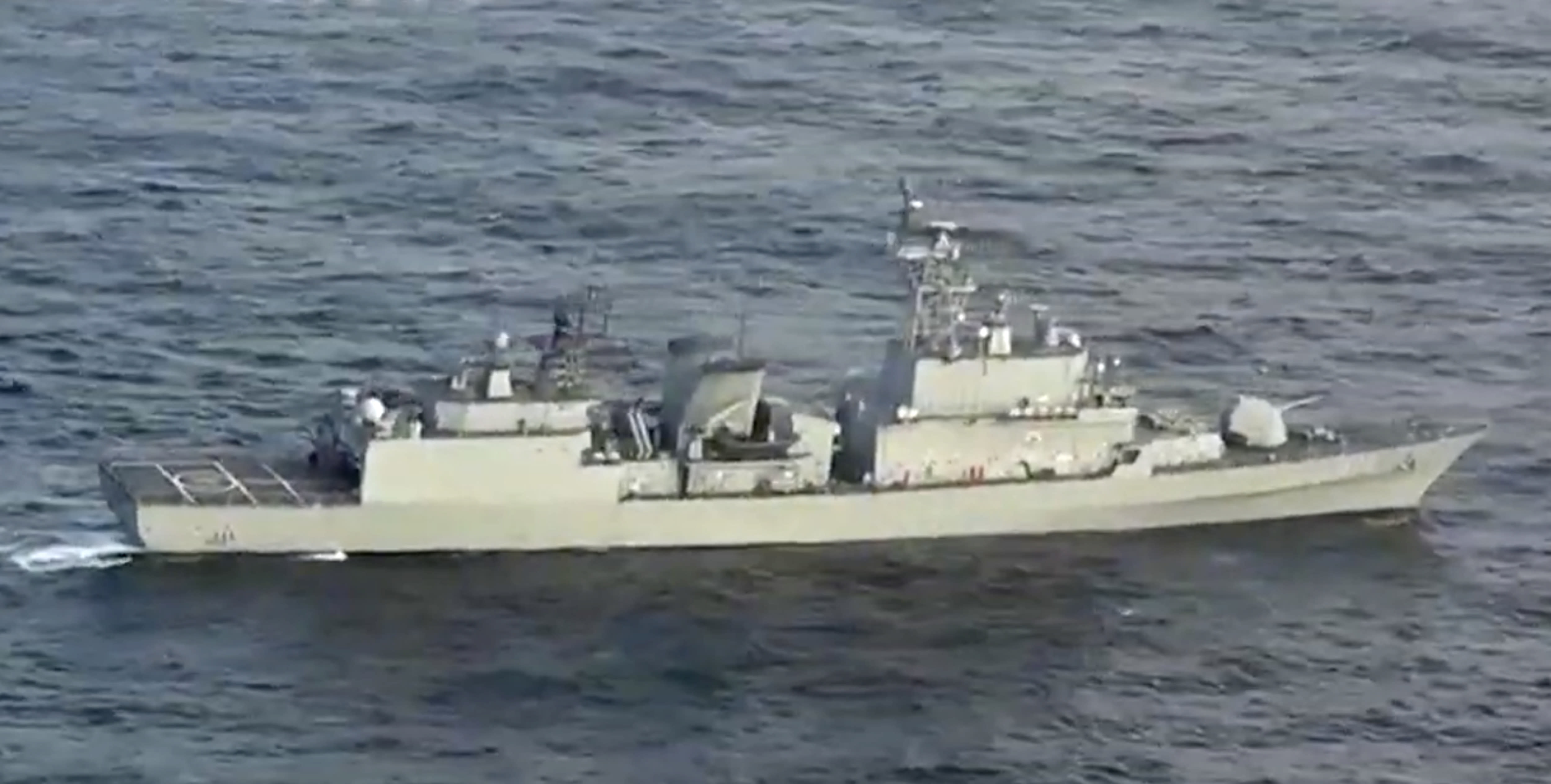 In this image made from video released Friday, Dec. 28, 2018, by the Japan Maritime Self-Defence Force, a South Korean naval warship is seen as it allegedly locks its fire-control radar on a Japanese warplane Friday, Dec. 21, 2018, in the disputed waters north of Japan. (Japan Maritime Self-Defence Force via AP)