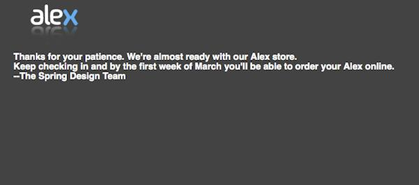 Spring Design Alex still not available for pre-order, 'early spring' ship date still planned