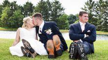 Couple's third-wheeling wedding photos go viral