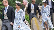 Meghan almost slips at Diana's niece's wedding