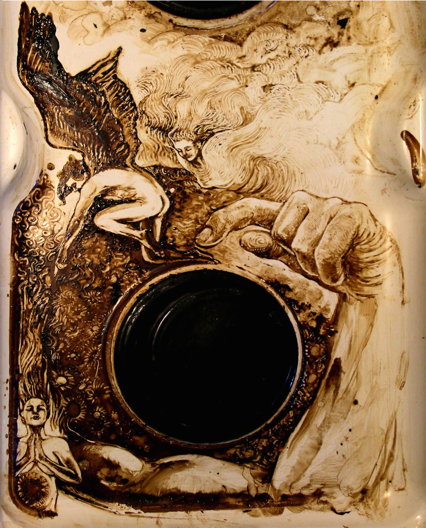 """<p>""""Sometimes I forget my Italian coffee machine on the gas ring: that's the beginning of all my art pieces,"""" writes artist <a href=""""http://vannimangoni.wix.com/vanni#!art/c10fk"""" rel=""""nofollow noopener"""" target=""""_blank"""" data-ylk=""""slk:Vanni Mangoni"""" class=""""link rapid-noclick-resp"""">Vanni Mangoni</a> of the detailed stain here. Sure, you'll clean it up eventually. But it might make for an amazing Instagram in the meantime. (Credit: <a href=""""http://vannimangoni.wix.com/vanni#!art/c10fk"""" rel=""""nofollow noopener"""" target=""""_blank"""" data-ylk=""""slk:Vanni Mangoni"""" class=""""link rapid-noclick-resp"""">Vanni Mangoni</a>)<br></p>"""