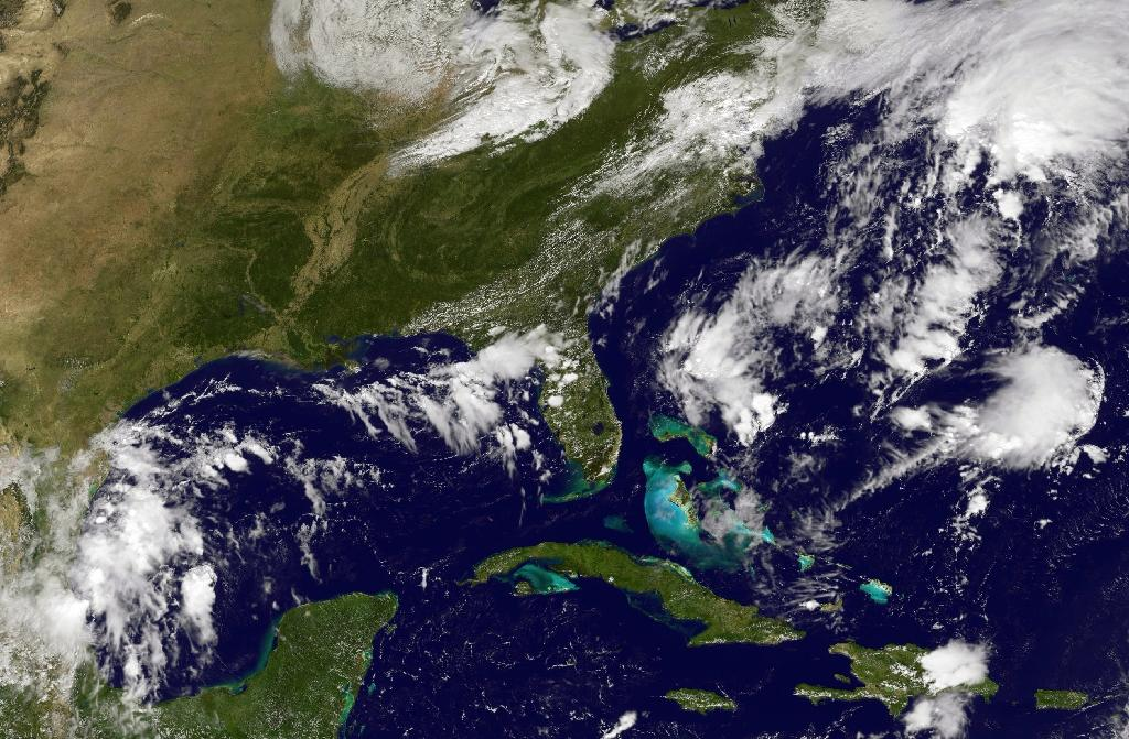 NOAA-NASA satellite photo shows storm activity in the Atlantic Ocean on September 28, 2016 as Tropical Storm Matthew formed