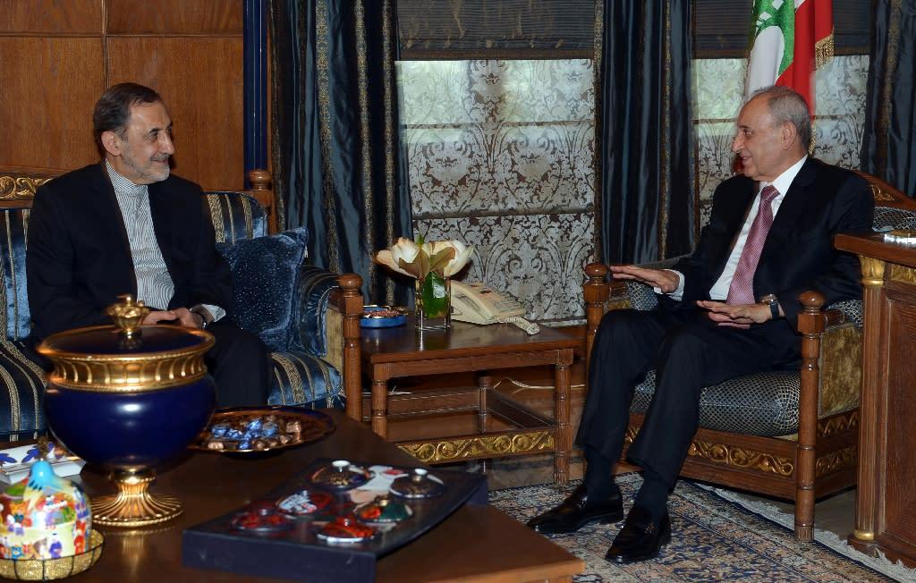 Lebanese parliament speaker Nabih Berri (R) meeting with Ali Akbar Velayati (L), advisor to the Islamic republic's supreme leader Ayatollah Ali Khamenei, in Beirut on May 18, 2015