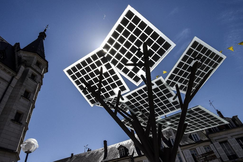 """The first """"eTree"""" technology used in Europe developed by Solar Tree Europ, a French-Israeli start up, pictured during an inauguration ceremony in Nevers, northern France on May 29, 2017"""