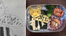 Los dibujos de su hija, ¡convertidos en comida!