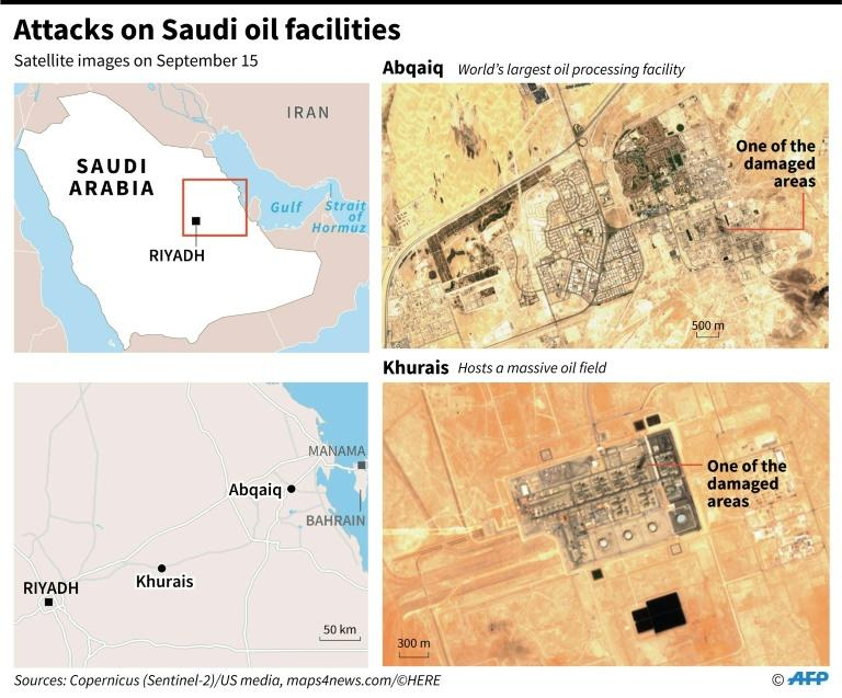 Satellite images taken on Sept 15 showing some of the damaged areas of Saudi Arabia's oil installations that were attacked by drones. (AFP Photo/Gal ROMA)