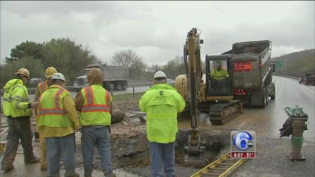 Sinkhole opens on Route 30 in Exton, Pa.