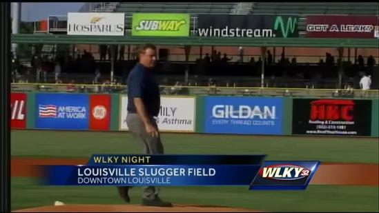 WLKY anchors throw first pitch at Bats game