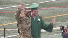 Army Dad Flies Home from Overseas to Surprise 'Emotional' Son at High School Graduation