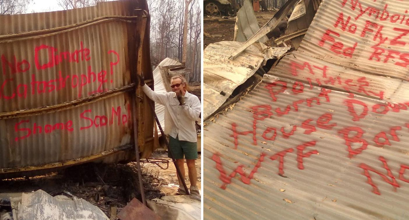Bushfire victim's brutal messages to ScoMo scrawled on destroyed home