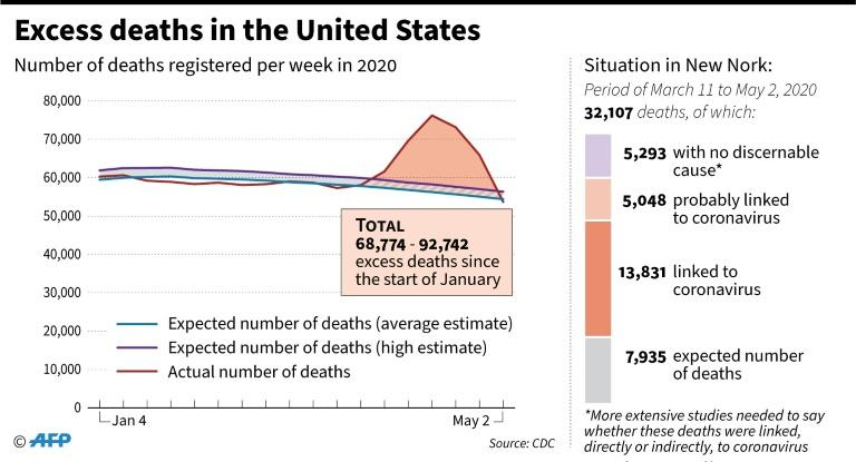 Excess deaths in the United States since early January, and details of excess deaths in New York (AFP Photo/Simon MALFATTO)