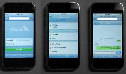 Trillian Astra chat / IM software for iPhone