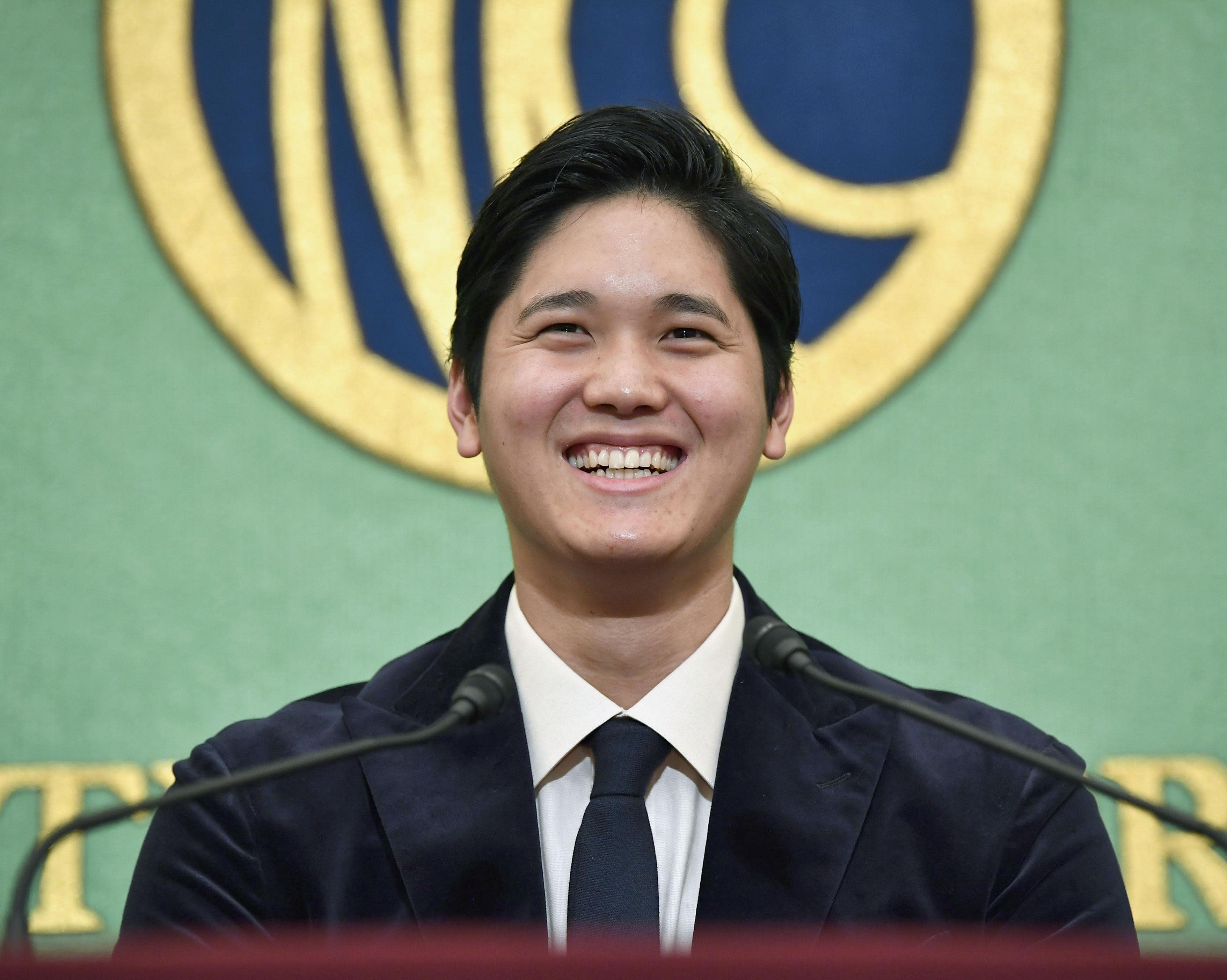 Los Angeles Angels two-way player Shohei Ohtani smiles during a press conference in Tokyo, Thursday, Nov. 22, 2018. Ohtani returned home after being picked for American League Rookie of the Year. (Tsuyoshi Ueda/Kyodo News via AP)