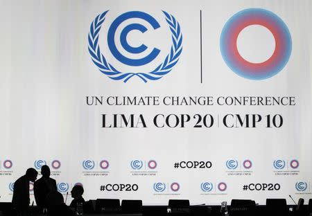 Delegates talk during a break at a plenary session of the U.N. Climate Change Conference COP 20 in Lima