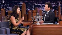 Bianca Andreescu shows off her stylish side in a leopard-print dress on The Tonight Show with Jimmy Fallon