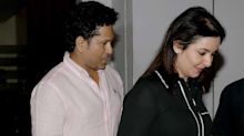 Spotted: Sachin and Anjali Tendulkar pose for shutterbugs after dinner date