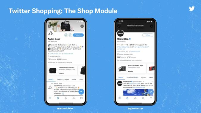 """Twitter is testing out a new """"shop module"""" for brands and businesses."""
