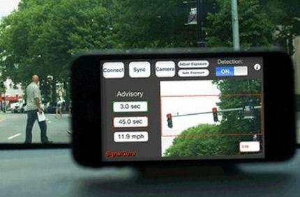 iPhone camera being used for traffic light testing