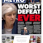 'Complete humiliation': How the front pages saw Theresa May's Commons Brexit vote defeat