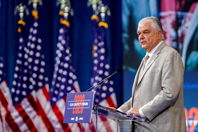 Nevada Governor Steve Sisolak speaks on the October 1, 2017 Las Vegas Strip mass shooting during a forum held by gun safety organizations the Giffords group and March For Our Lives in Las Vegas, Nevada, U.S. October 2, 2019.  REUTERS/Steve Marcus
