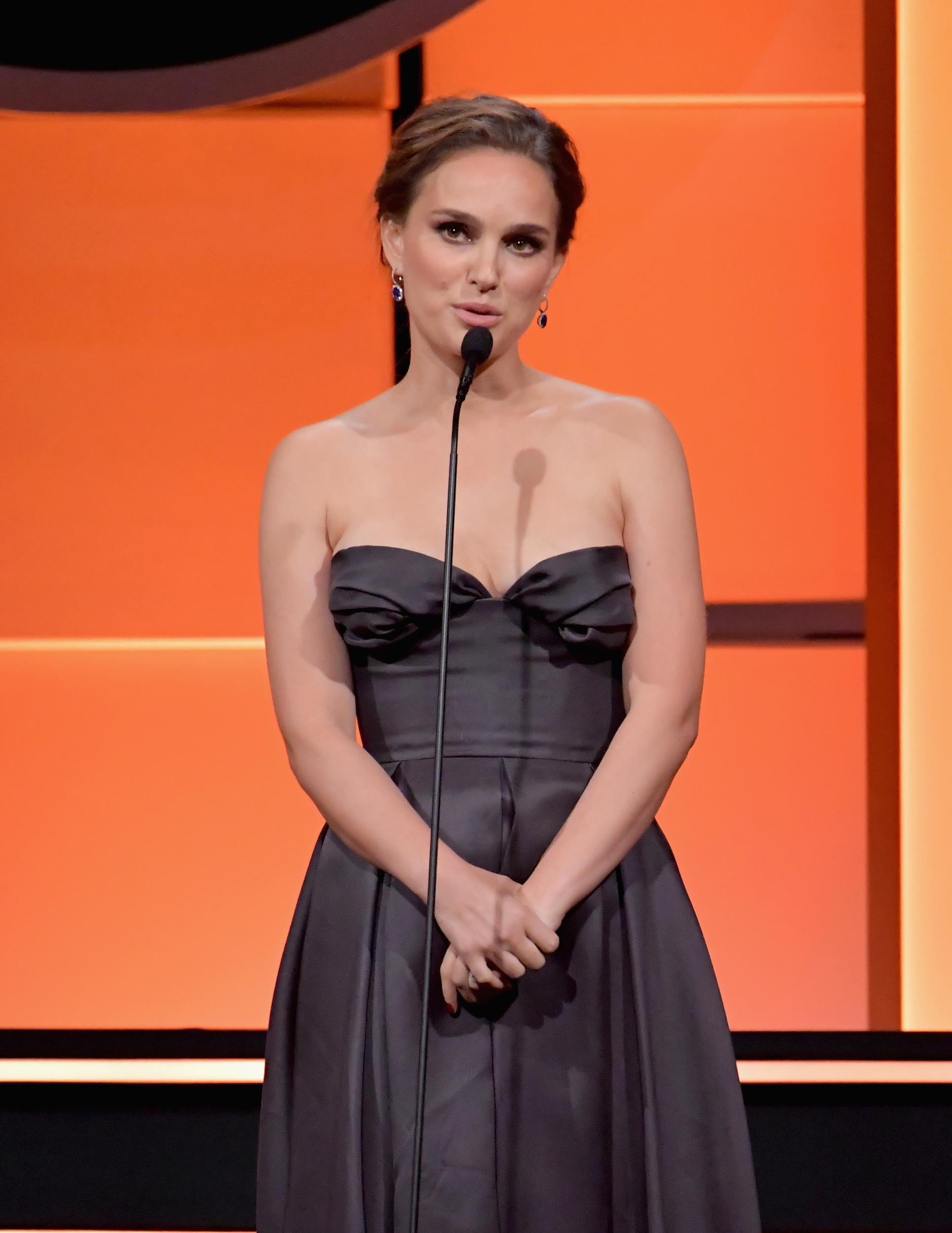 BEVERLY HILLS, CA - NOVEMBER 10:  Natalie Portman speaks onstage during the 31st Annual American Cinematheque Awards Gala at The Beverly Hilton Hotel on November 10, 2017 in Beverly Hills, California.  (Photo by Lester Cohen/WireImage)