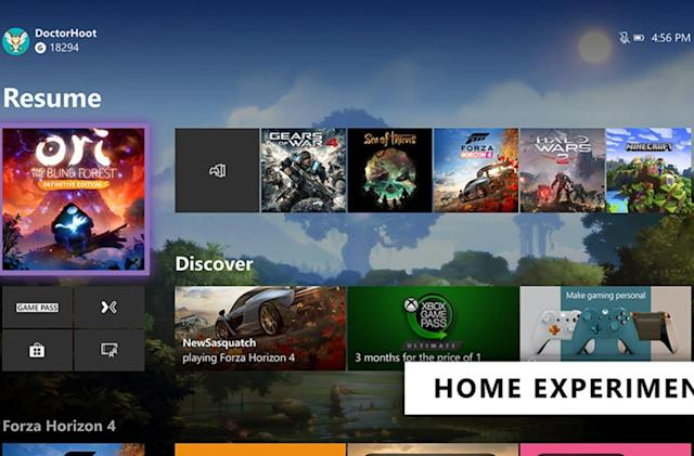 Microsoft tests a cleaner Xbox One Home screen (again)