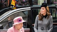 Kate Middleton Wore a Grey Catherine Walker Dress for Rare Engagement With the Queen