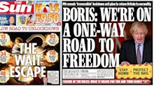 How the UK front pages reacted to Boris Johnson's 'one-way road to freedom' roadmap