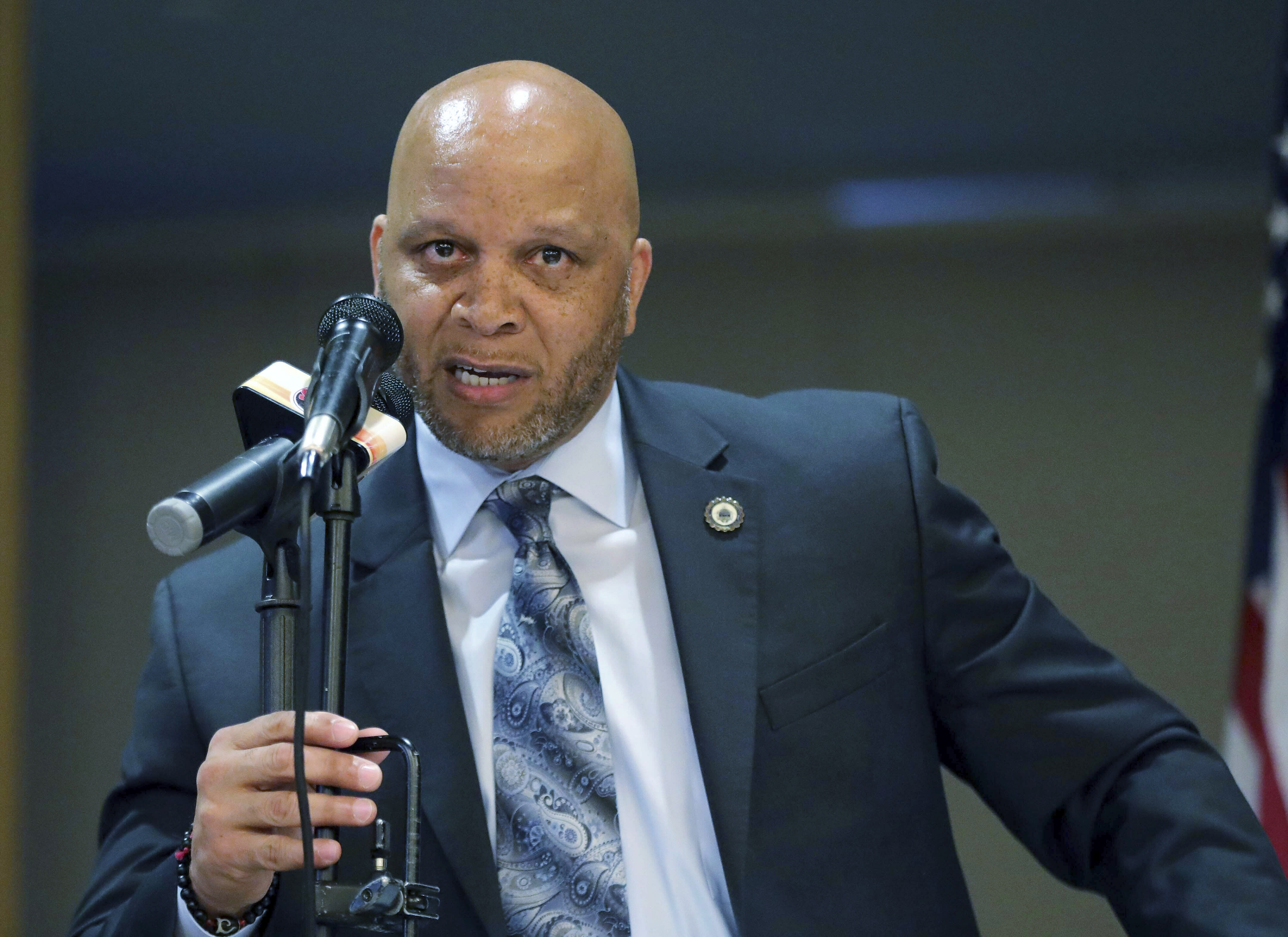 FILE - In an April 23, 2019 file photo, Atlantic City Mayor Frank Gilliam Jr. speaks at the Atlantic City Implementation Plan. Gilliam Jr. has resigned, Thursday, Oct. 3, 2019, after pleading guilty to defrauding a youth basketball club out of $87,000. (Craig Matthews/The Press of Atlantic City via AP, File)