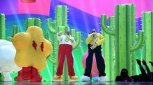 J Balvin and Bad Bunny Fly on Stage in Inflatable Suits During 'Que Pretendes' MTV VMA Performance