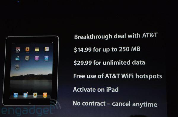 Apple iPad 3G service plans on AT&T, $30 for unlimited data