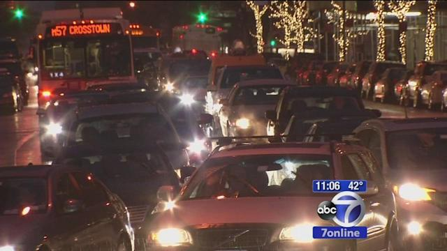 Traffic backups due to holiday traffic in NYC