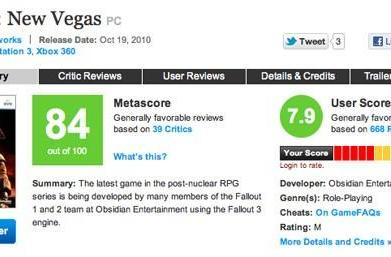 Obsidian missed Fallout: New Vegas Metacritic bonus by one point