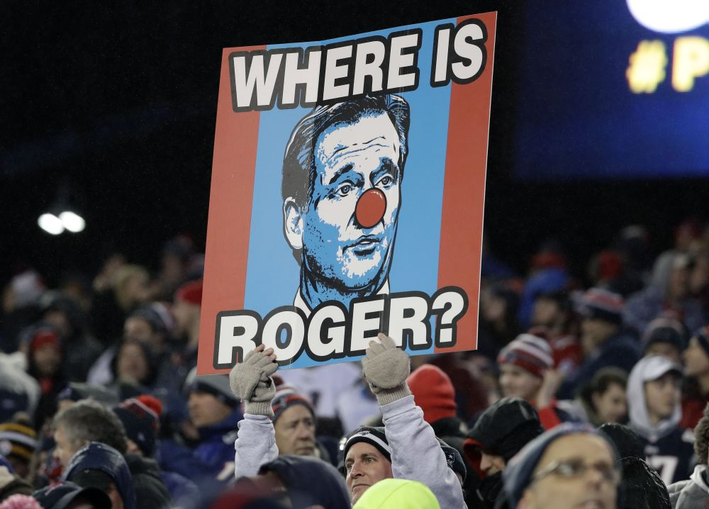 All isn't forgiven in New England when Roger Goodell is the topic. (AP)