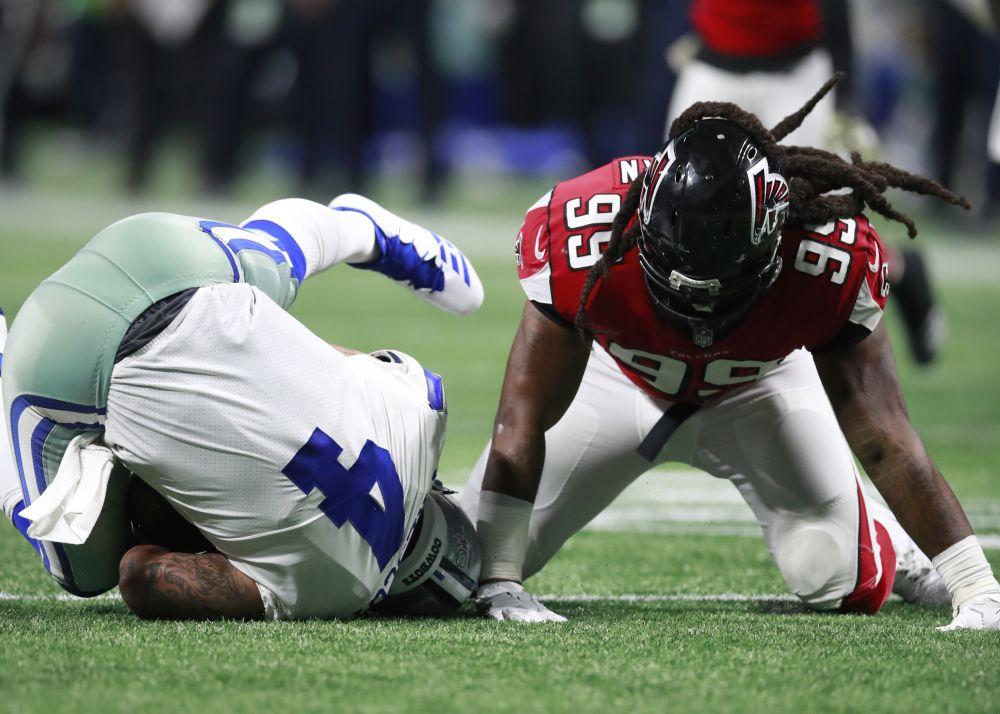 Atlanta Falcons defensive end Adrian Clayborn after one of his six sacks on Cowboys quarterback Dak Prescott. (AP)