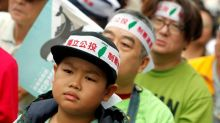 Thousands of pro-independence demonstrators rally in Taiwan