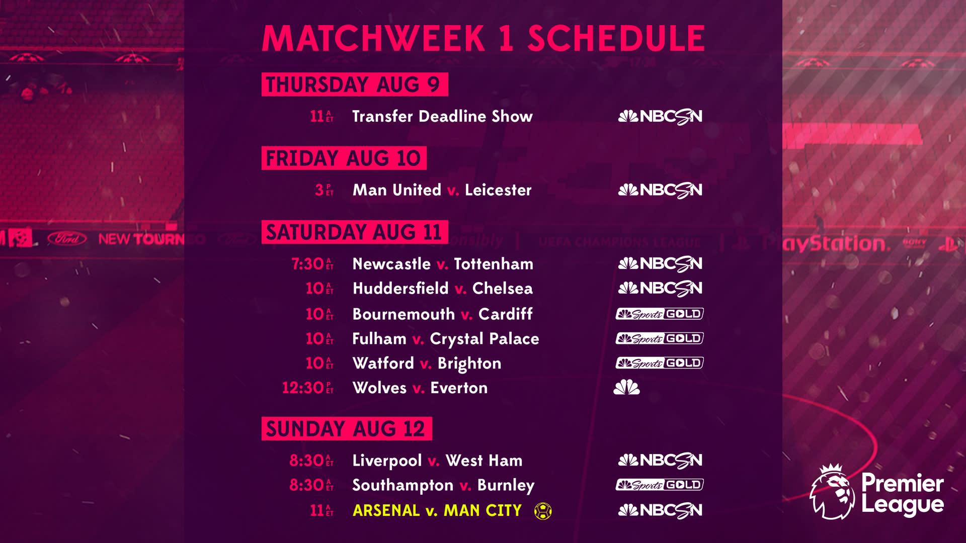premier league tv schedule: week 1