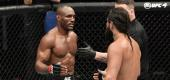 Kamaru Usman, left, and Jorge Masvidal at UFC 251. (Zuffa LLC)